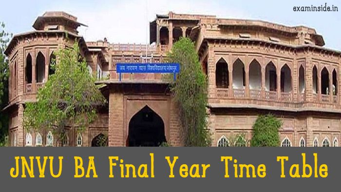 JNVU BA Final Year Time Table 2021
