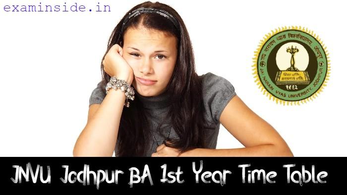JNVU BA 1st Year Time Table 2021