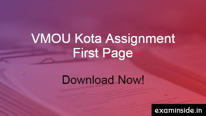 vmou assignment first page
