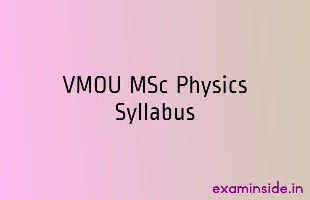 vmou msc physics syllabus