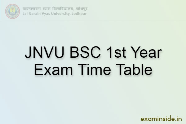 jnvu bsc 1st year time table 2021