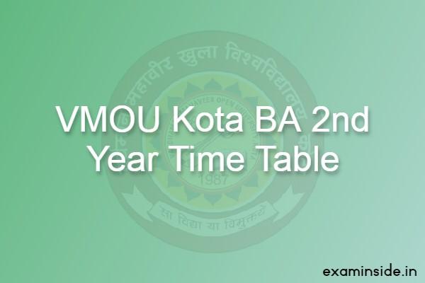 VMOU BA 2nd Year Exam Date 2021