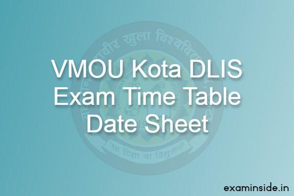 vmou kota dlis exam date time table