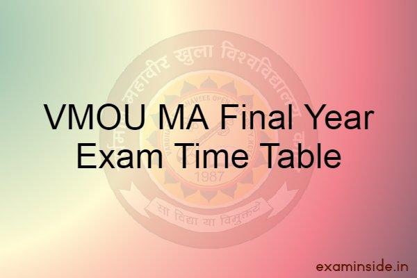 vmou ma final exam time table