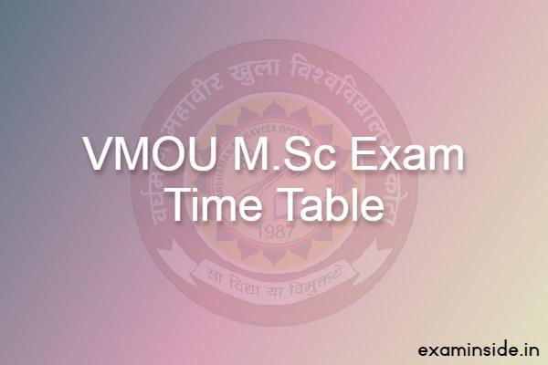 vmou msc exam time table