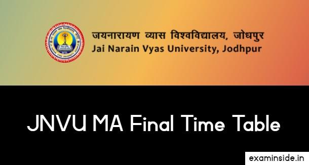 JNVU MA Final Exam Date 2021