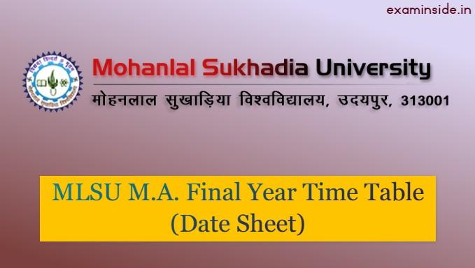 mlsu ma final year time table 2021 exam date