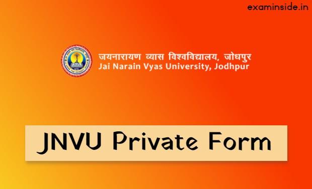 JNVU Private Form 2021 Last Date