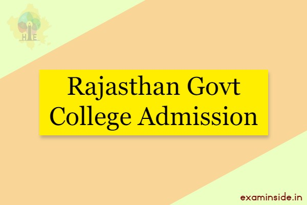 Rajasthan Govt College Admission 2021