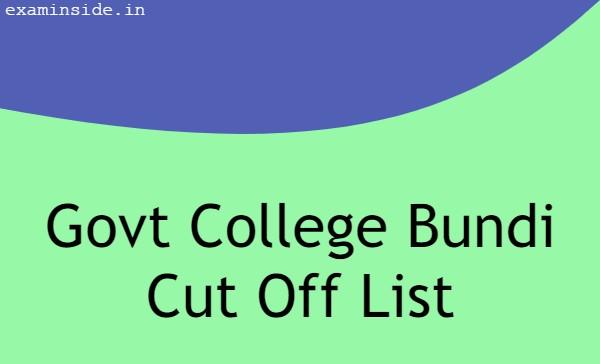 govt college bundi cut off list, PG College Bundi Admission List 2021