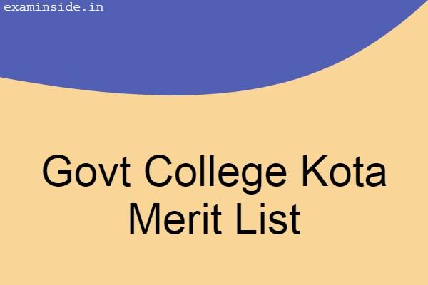 Govt College Kota Merit List 2021