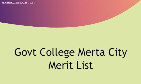 Govt College Merta City Merit List 2021