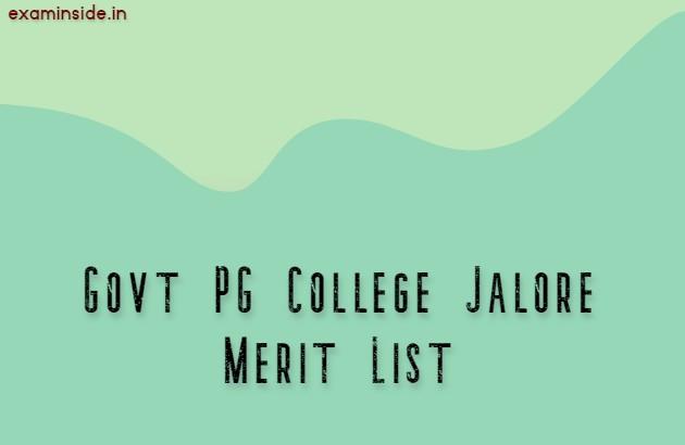 Govt PG College Jalore Merit List 2021