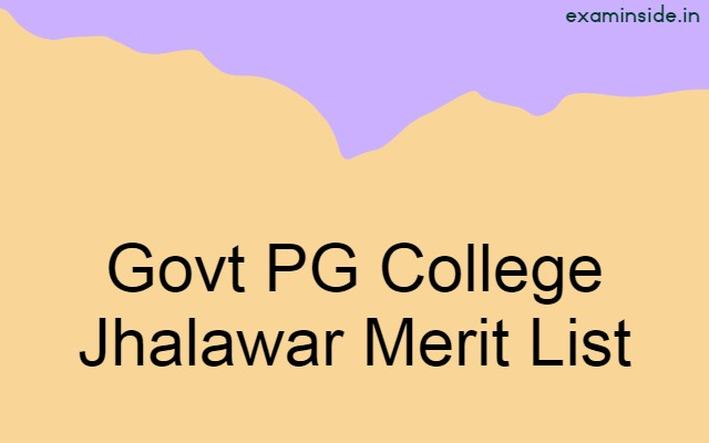 Govt PG College Jhalawar Merit List 2021