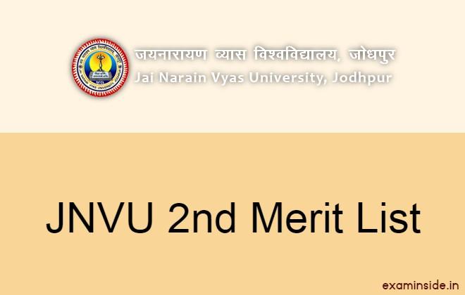 JNVU 2nd Merit List 2021