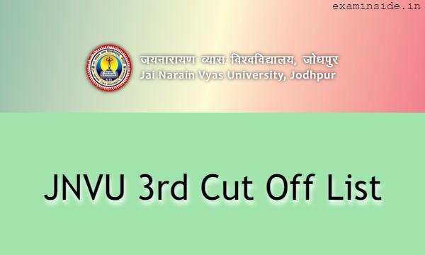 JNVU 3rd Cut Off List 2021, JNVU 3rd Merit List 2021