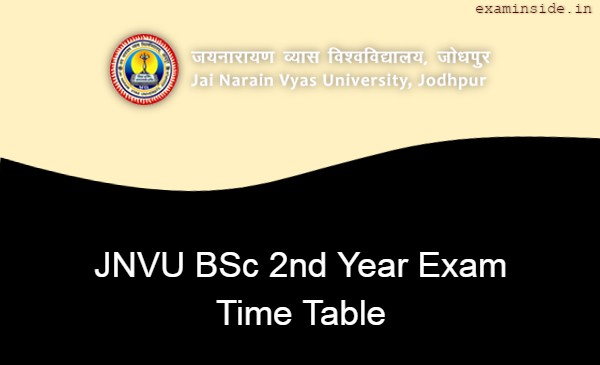 JNVU BSc 2nd Year Time Table 2021