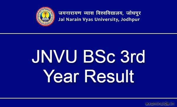 JNVU BSc 3rd Year Result 2021, JNVU Jodhpur BSc Final Result 2021