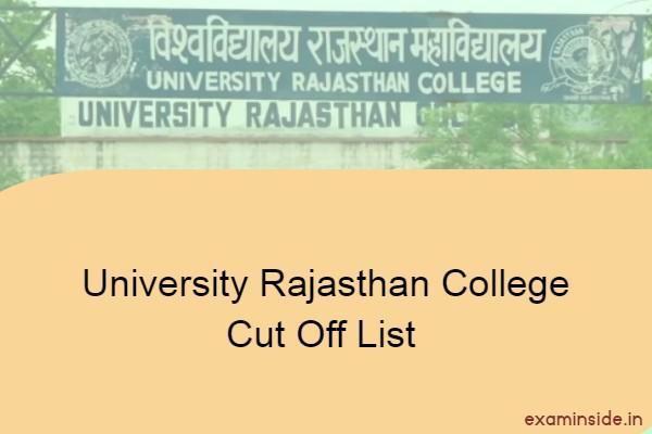 university rajasthan college cut off list 2021